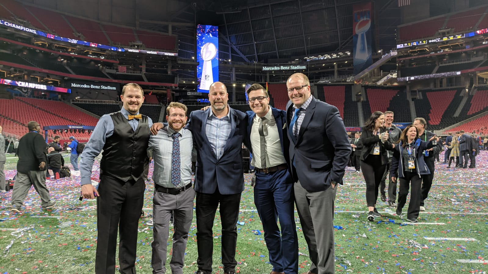 Ross staff on the field at Mercedes Benz Stadium