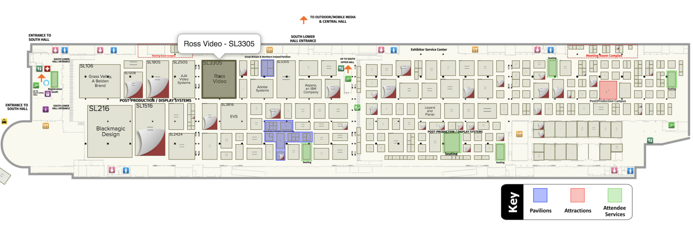 NAB Lower South Hall floor plan with Ross booth highlighted