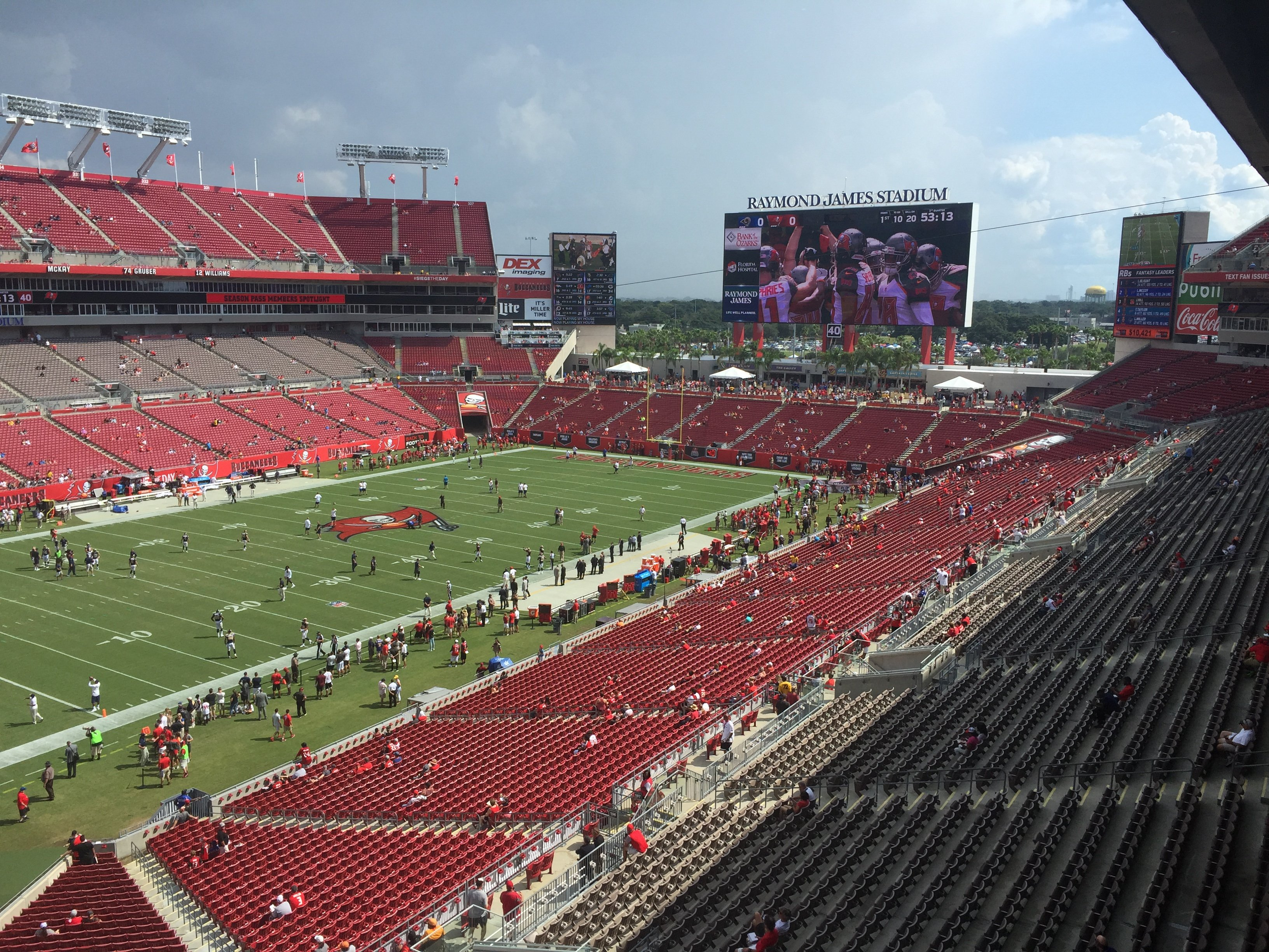 The field at Raymond James Stadium in Tampa Bay, Florida