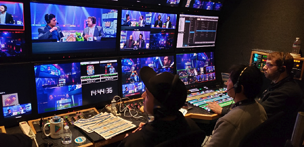 The front bench of RMP6 4K, Ross Mobile Productions' 30-foot expandable production truck, during the Clash Royale World Finals.