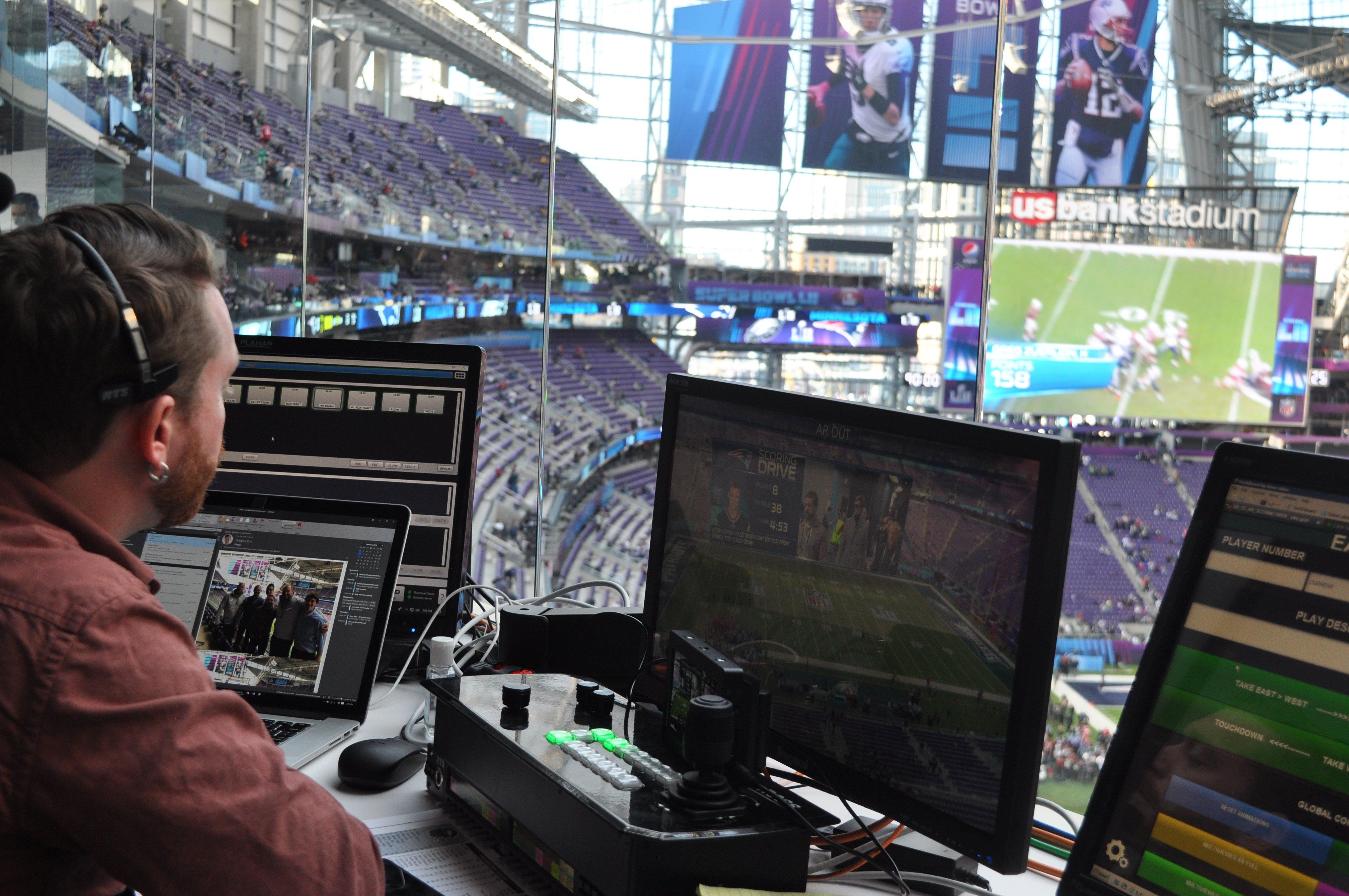 Operator using software at US Bank Stadium